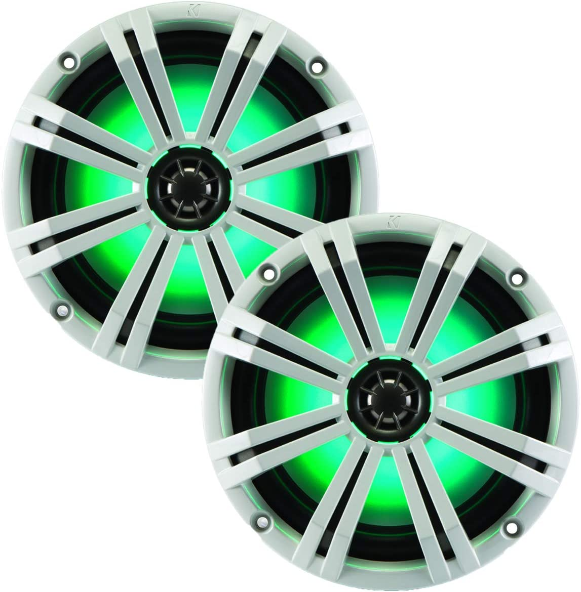 """Kicker KM8 8-INCH (200mm) Marine Coaxial Speakerswith 1"""" tweeters,LED Charcoal and White Grilles,4-OHM"""