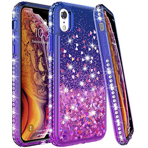 LK Case for iPhone Xs Max, [Gradient Quicksand Series] Glitter Liquid Floating Flowing Sparkle Flexible TPU Bling Diamond Clear Protective Case for Apple iPhone Xs Max - Purple