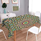 L-QN Printed Fabric Tablecloth Collection Aged Old Arabic Design Arabian Cultural Engraving Art History Tourist Attraction Image Washable Polyester 60''x120''