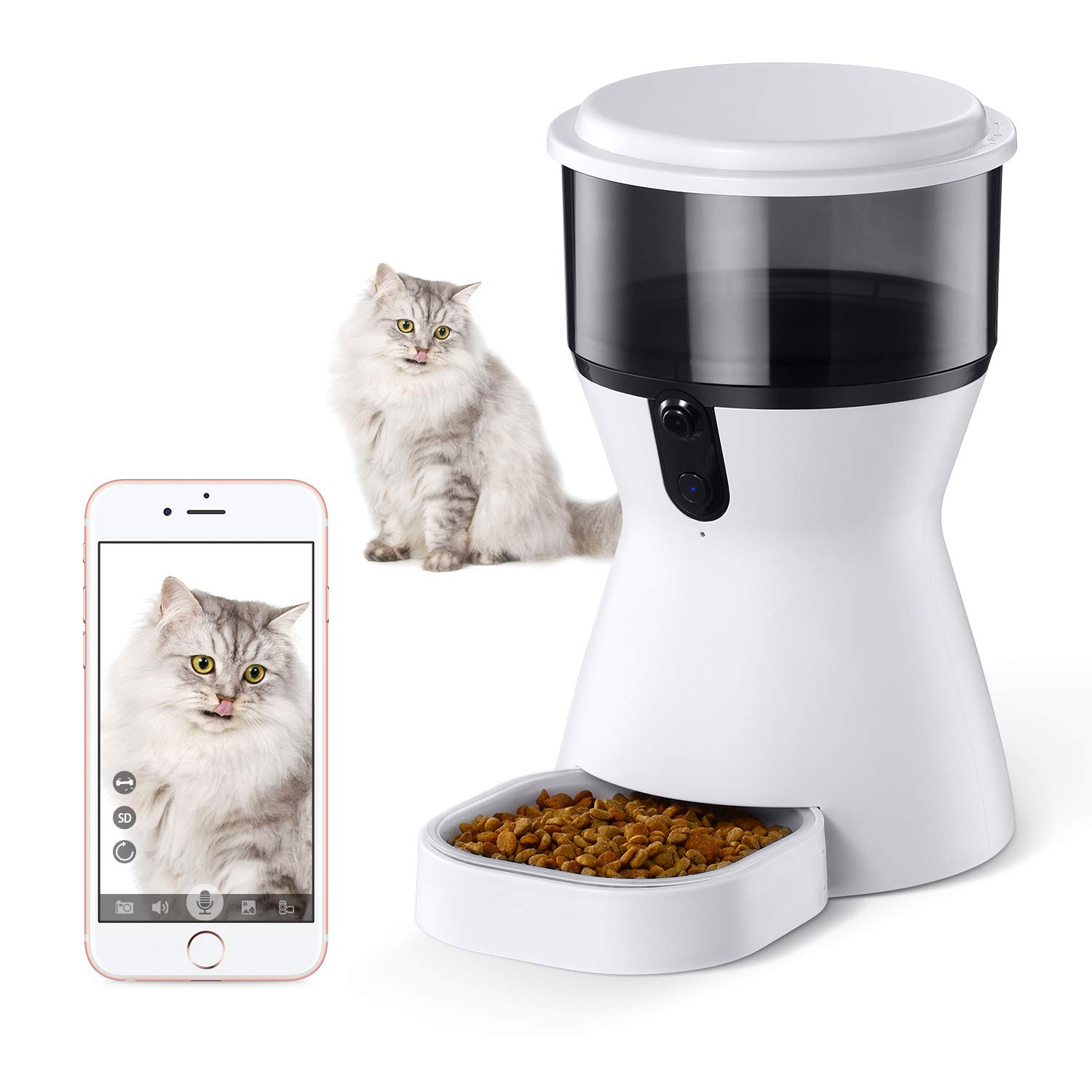 isYoung 4L Smart Pet Feeder, Automatic Wi-Fi Pet Feeder with HD Camera for Video and 2-Way Audio Communication for Cats and Dogs - App for Android and iOS by isYoung