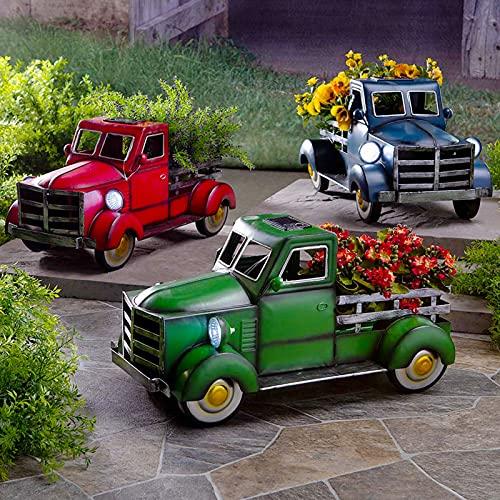 Retro Style Solar Pickup Truck Garden Decoration, Desktop Decorative Flower Pot Storage Outdoor Decoration, Resin Vintage Truck Flower Pot (Green)