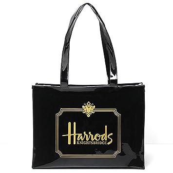 0ec07abf21 Amazon.com   LuxuryLabels Harrods Signature BLACK PVC Tote Bag Shopping  Carrier Top-handle Bag   Beauty