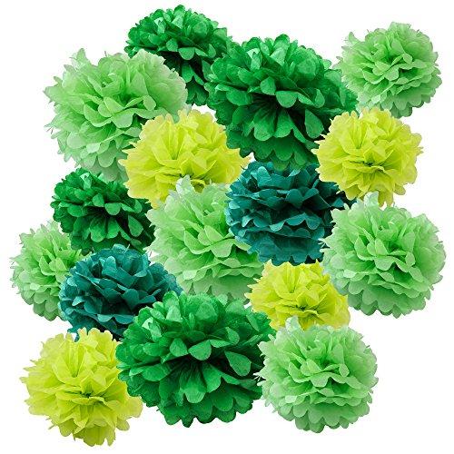 WYZworks Assorted Set of 16 Tissue Paper Flower Pom Poms - 8