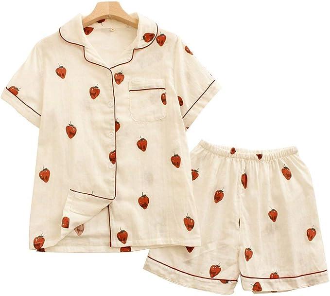 Pijamas Mujer Mujer Verano Pijama Camiseta De Conjunto + Shorts Modernas Casual 2 Pedazos Fashion Elegantes Manga Corta Fresas Impresión Ropa De Dormir Batas: Amazon.es: Ropa y accesorios