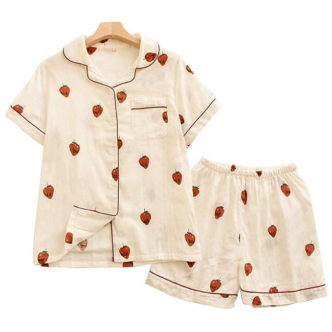 Pijamas Mujer Mujer Verano Conjunto De Pijama Camiseta + 2 Pedazos Fashion Shorts Mode De Marca Elegantes Manga Corta Fresas Impresión Ropa De Dormir Batas: ...