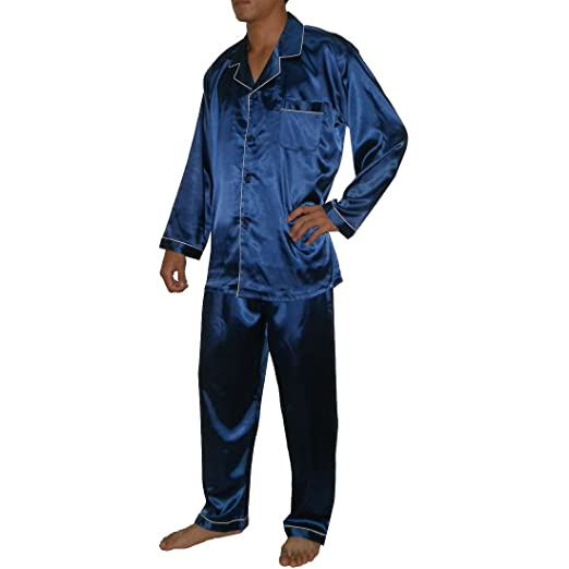 2pcs Set Silk Couture hombre Luxurious SILK pijama Set incluye camiseta y pantalones Azul azul Medium: Amazon.es: Ropa y accesorios
