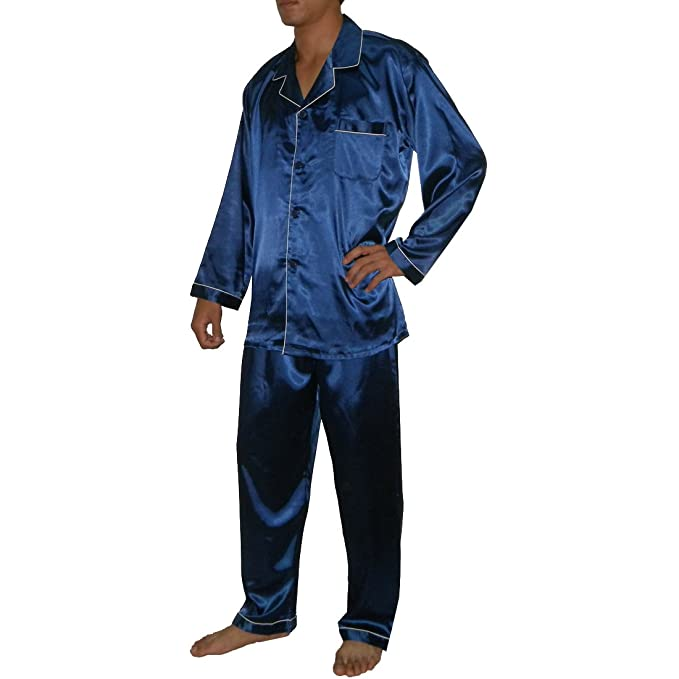 2pcs Set Silk Couture hombre Luxurious SILK pijama Set incluye camiseta y pantalones Azul azul Medium