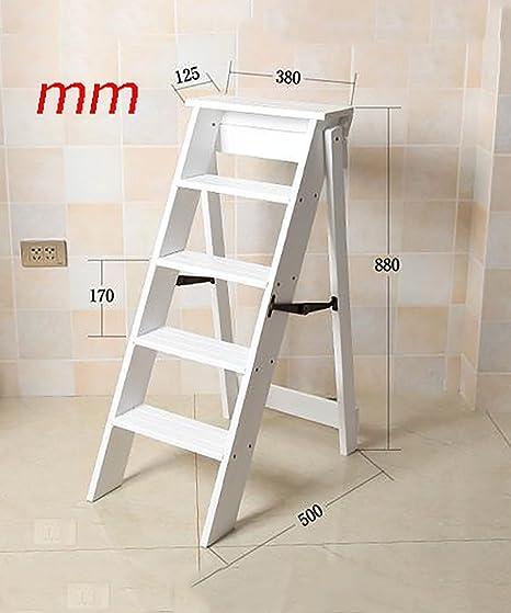 WUFENG Multifunción Escalera De Silla Nórdico Creativo Plegable De Madera Maciza Silla Escaleras Taburete (Color : D, Tamaño : Five Steps): Amazon.es: Hogar