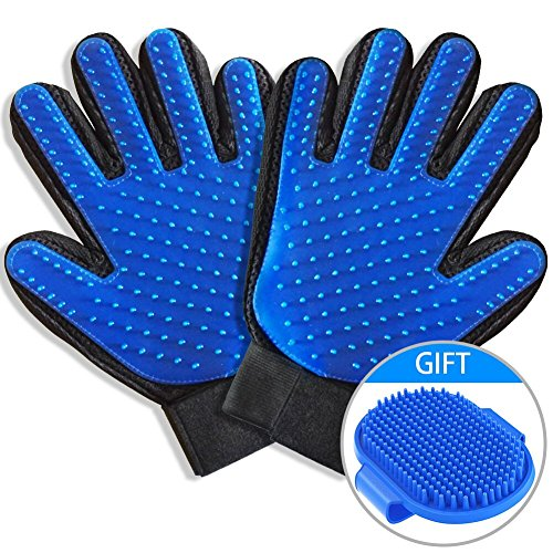 Pet Grooming Glove -Gentle Deshedding Brush Glove Efficient Pet Hair Remover Mitt and Massage Tool Perfect for Dogs & Cats with Long & Short Fur-2Pack