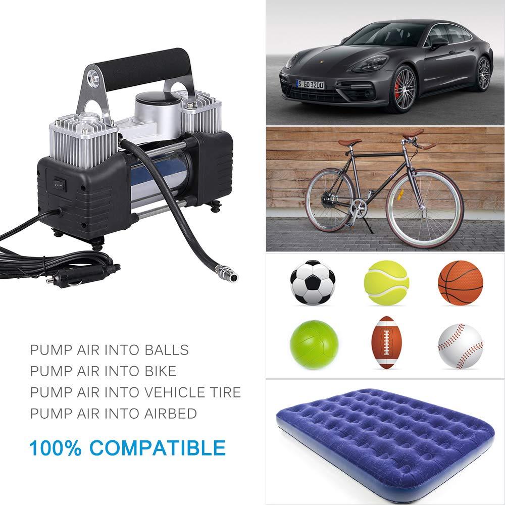 ANFAHR 12V Portable Car Air Compressor Electric Pump Tire Inflator for Car Motorbike Basketball Football