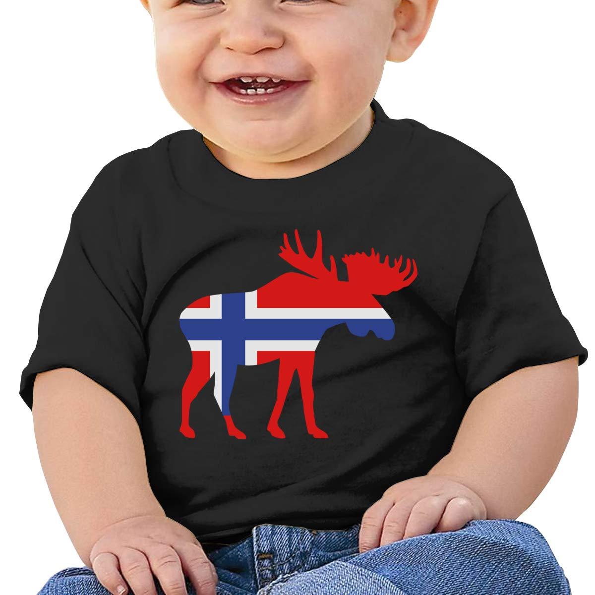Qiop Nee Iceland Moose Flag Short-Sleeve T Shirts Baby Girls