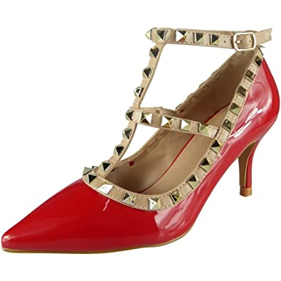 0c11f86460c Loud Look Womens Studded T-Bar Ankle Strap Mid Kitten Heel Party Shoes  Sandals Size 3-8  Amazon.co.uk  Shoes   Bags