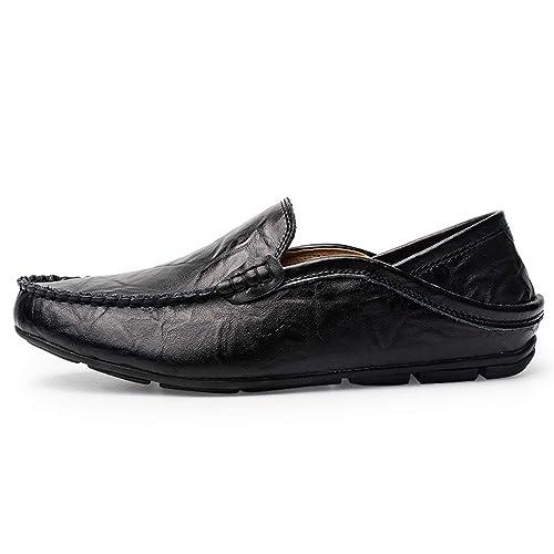 Sneerrt Mocasines de Invierno para Hombre Mocasines de Cuero Genuino Resbalón Transpirable en los Zapatos del Barco: Amazon.es: Zapatos y complementos