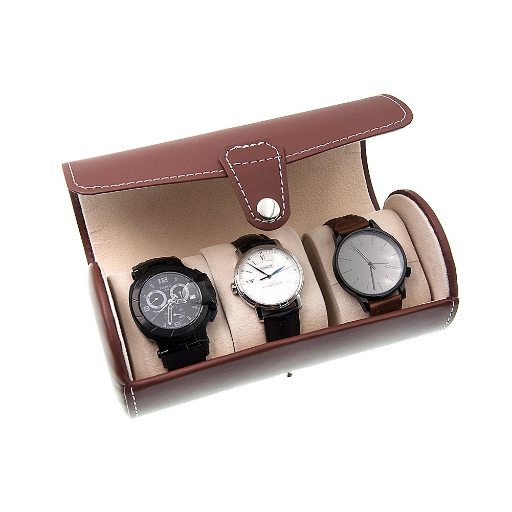 (Brown) MGS AWP-3 Travel Watch Organiser Watches Case Leatherette Roll Watch Storage Pouch Jewellery Box 3-Slots (Brown) B075CKX85Sブラウン