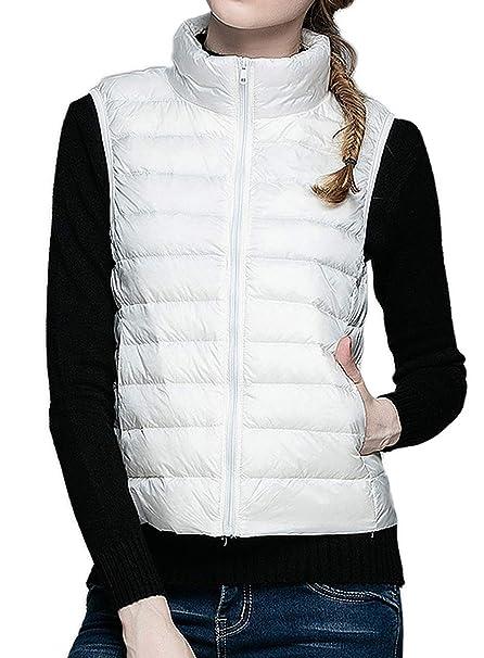 MYMYU Chaqueta de Mujer Abajo Abrigo Chaleco Packable Chaleco Ultraligero Chalecos sin Mangas Calentadores corporales (