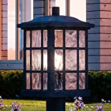 Luxury Craftsman Outdoor Post Light, Medium Size: 16.5''H x 9.5''W, with Tudor Style Elements, Highly-Detailed Design, High-End Black Silk Finish and Water Glass, UQL1246 by Urban Ambiance