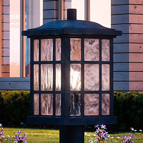 Luxury Craftsman Outdoor Post Light, Medium Size: 16.5''H x 9.5''W, with Tudor Style Elements, Highly-Detailed Design, High-End Black Silk Finish and Water Glass, UQL1246 by Urban Ambiance by Urban Ambiance (Image #8)