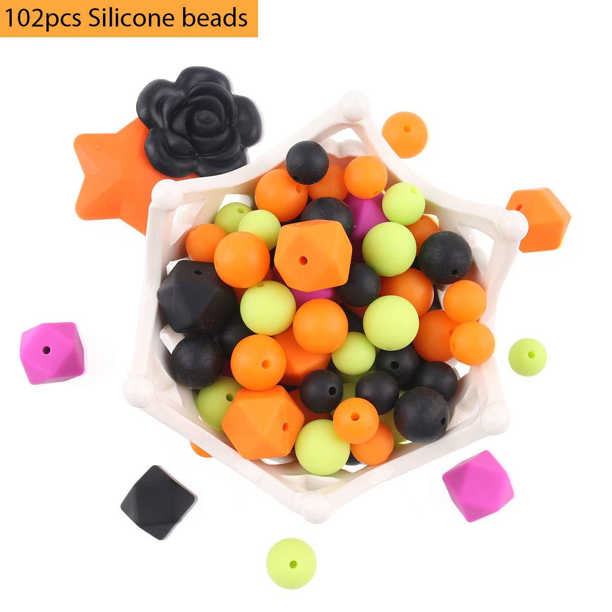 baby tete Baby Silikon Perlen Zahnen Halsketten 102pcs Lose Perle für sensorische Beißringe Süßigkeiten Serie Pflege Schnuller Clip Armband