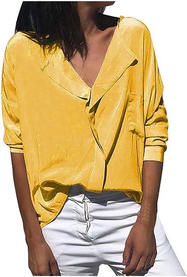 VEMOW Blusa de Mujer Camisa Formal Oficina Trabajo Uniforme Señoras Casual Suelto Manga Larga O-Cuello Bolsillo Tops Camisetas de Solapa de Moda para Mujer Shirt Moda: Amazon.es: Ropa y accesorios