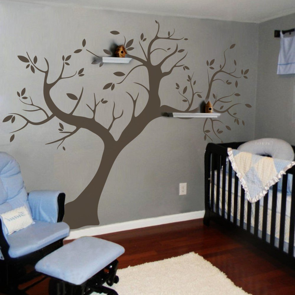 MairGwall Nursery Wall Sticker Removable Mural Leaves Trunk Branch Wall Decal Tree Wallpaper - Without Photo Frames (96''hx120''w,Dark Brown)