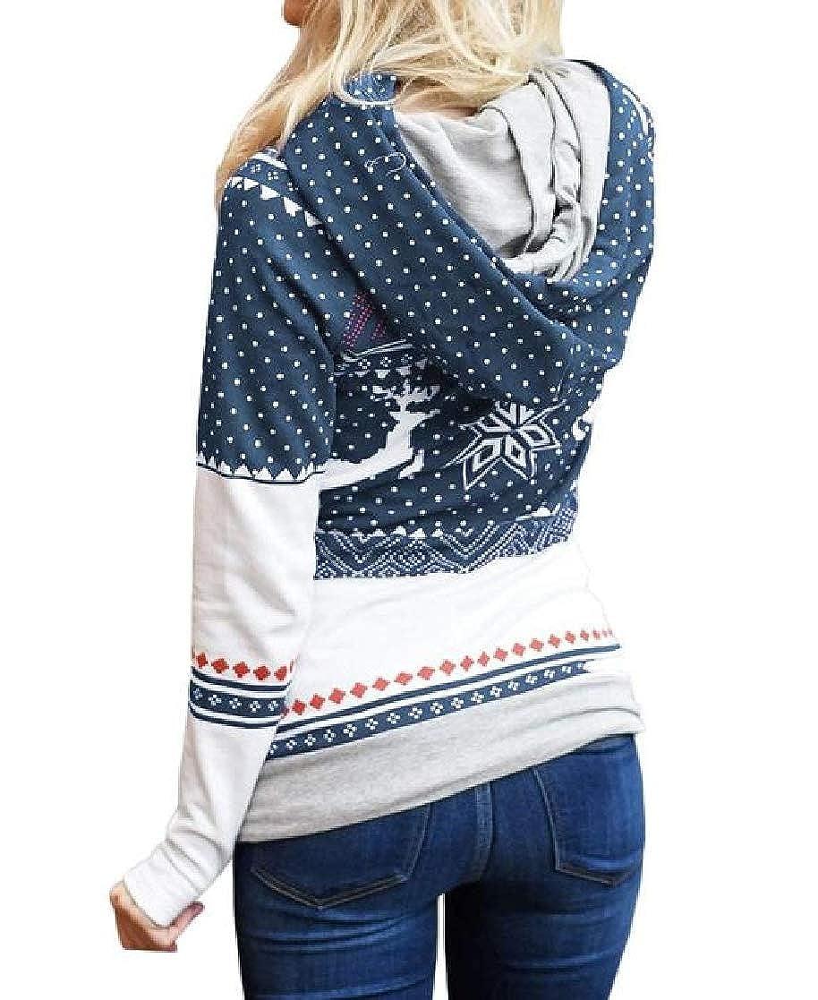YUNY Womens Floral Printing Hood Christmas Theme Pockets Tunic Hoodie Sweatshirts Dark Blue XS