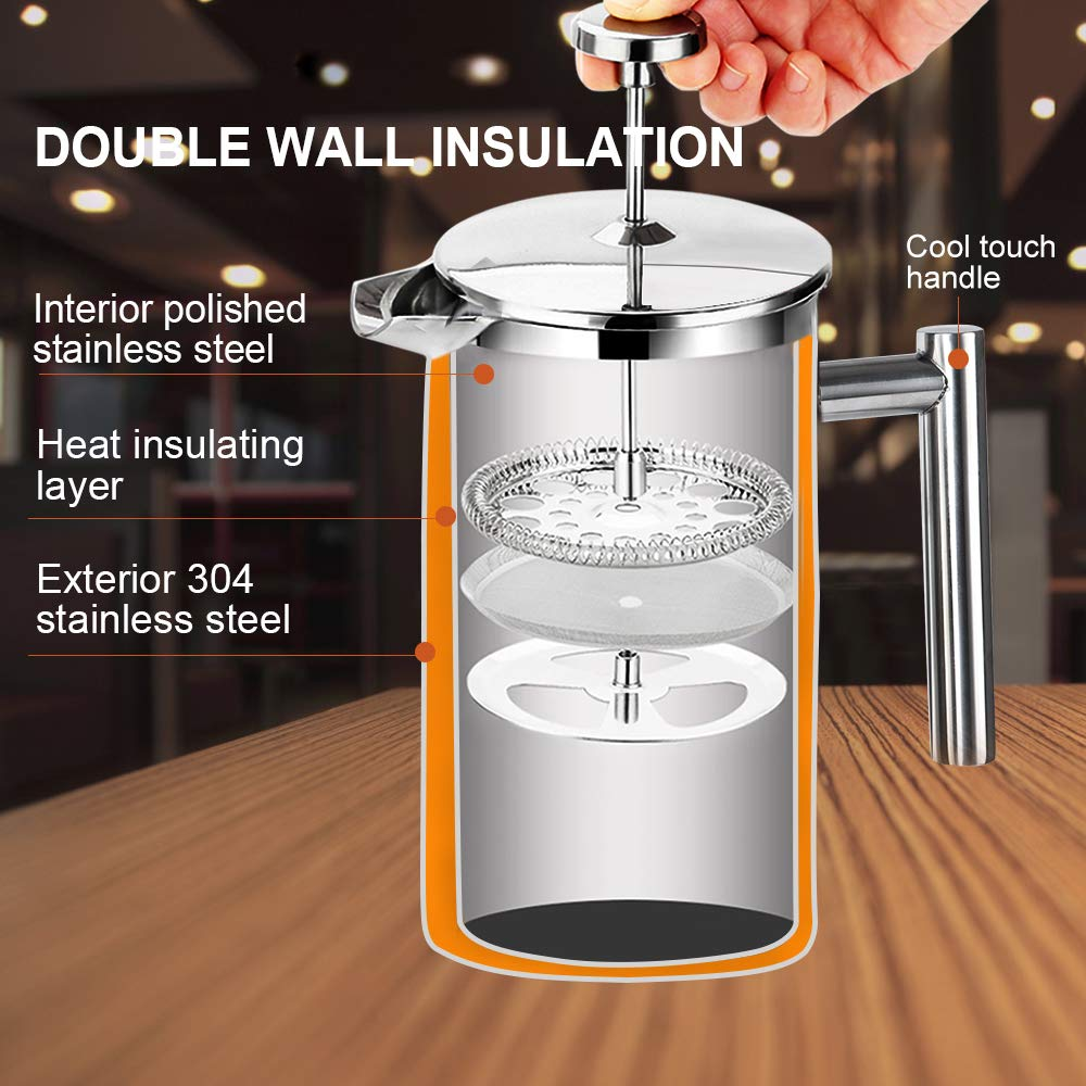 Secura French Press Coffee Maker, 304 Grade Stainless Steel Insulated Coffee Press with 2 extra Screens, 50oz 1.5 Litre , Stainless Steel