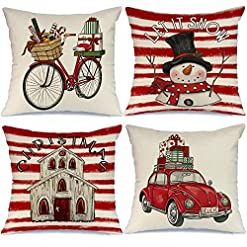 Christmas Farmhouse Home Decor AENEY Christmas Pillow Covers 18×18 Set of 4, Red Stripe Truck Bicycle Snow Rustic Winter Holiday Throw Pillows… farmhouse christmas pillow covers