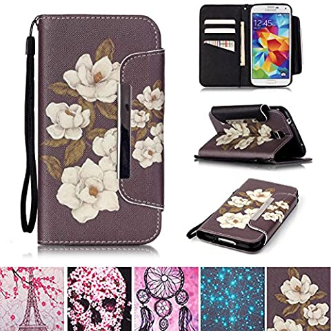 Galaxy S5 Case, [Kickstand] [Card/Cash Slots] Lightweight PU Leather Wallet Flip Cover with Wrist Strap for Samsung Galaxy S5 / SV / S V / i9600- (Cover De Samsung Galaxy 5s)