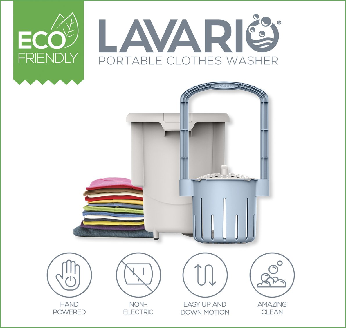 Manual Non-Electric Portable Washing Machine for Camping, Apartments, RV/'s, Delicates Lavario Portable Clothes Washer