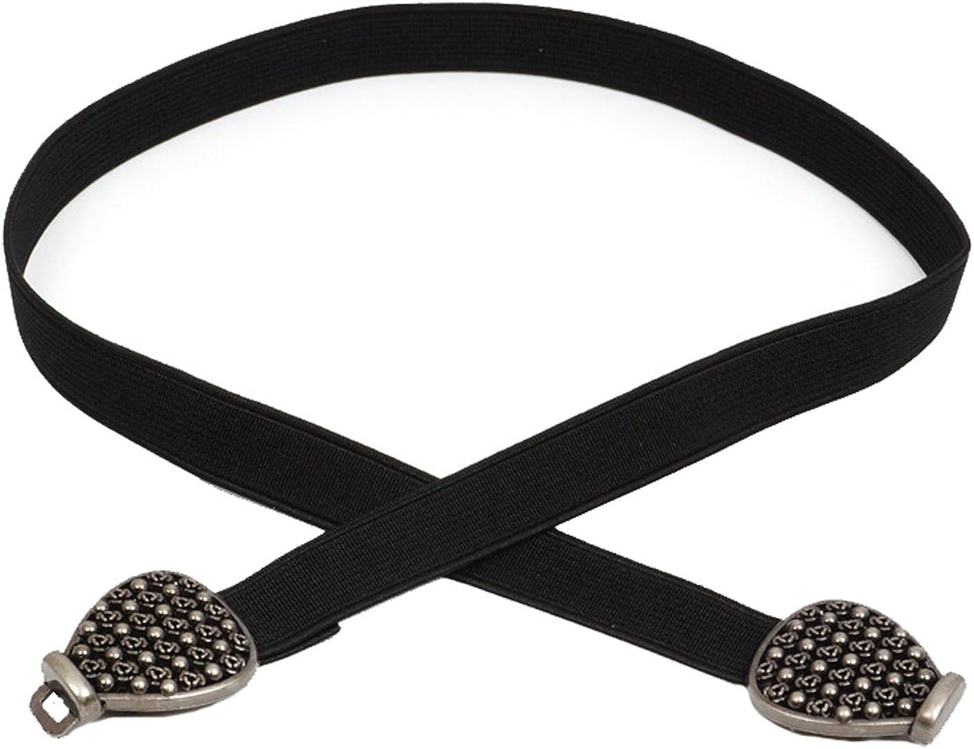 BAIMIL Ladies Metal Buckle Flower Thin Belt Elastic Belt Skirt Girdle Black