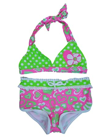 102cda649ce4b Angel Beach Girls Neon Green & Pink Swimming Suit Swim Bathing Suit 2 PC 4