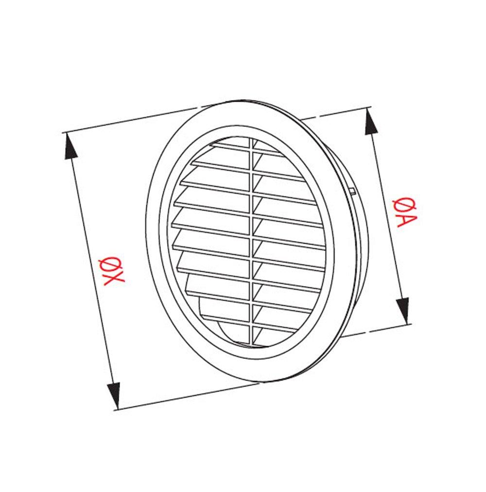 MKK /Ø 100 mm Grille de ventilation ronde blanche en plastique avec moustiquaire Grille d/évacuation Air entrant Air /évacu/é Grille Ventilation