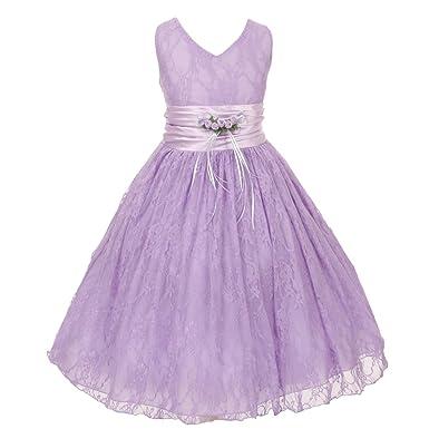 Amazon Little Girls Lilac Flower Embellished Waistband Lace