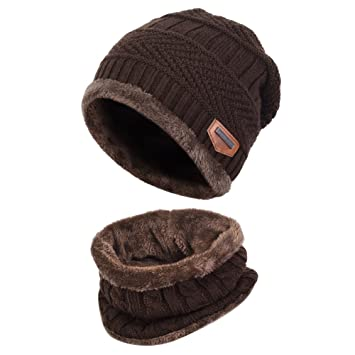 4986647a3e5 Vbiger Warm Knitted Hat and Circle Scarf Skiing Hat Outdoor Sports Hat Sets