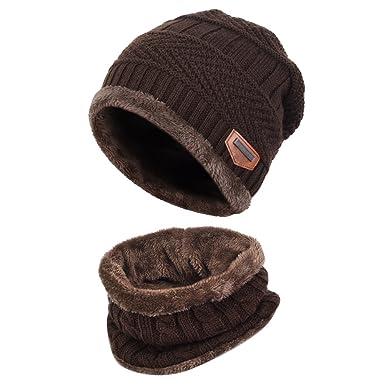 Vbiger Cappello Uomo invernale Berretto Uomo in Maglia con sciarpa (Caffè) 475a08fb5582