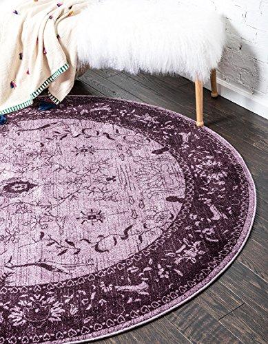 Unique Loom Vintage La Jolla Purple 8' x 8' Round Area Rug