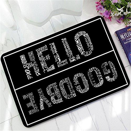 Black White Hello Goodbye Rubber Anti Slip Doormats Door Entry Front Door Mats Outdoor Entrance Indoor Welcome Home Funny