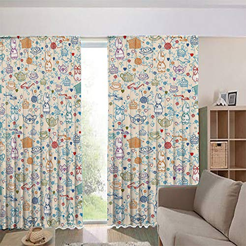 iPrint Blackout Curtains for Kids Room Noise Reducing Thermal Insulated Window Curtain,Pastime Things Baby Bunny Tea Glasses Balls of Yarn 108Wx108L Inch