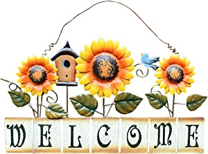 Attraction Design Vintage Sunflower Decor Welcome Sign for Front Door, Garden Themed Welcome Door Sign Hanging Metal Welcome Wall Plaque Home Garden Decor (Sunflower Welcome Sign-CS)