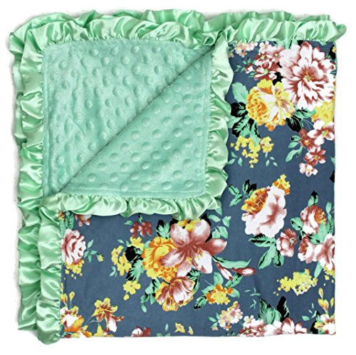 (Dear Baby Gear Baby Blankets, Vintage Floral Coral Roses on Grey, Mint Minky)