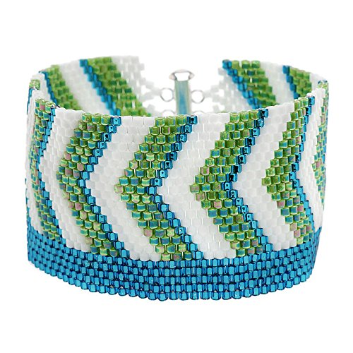 Chevron Striped Peyote Bracelet (Blue/Grn) - Exclusive Beadaholique Jewelry Kit (Bead Peyote Bracelet)