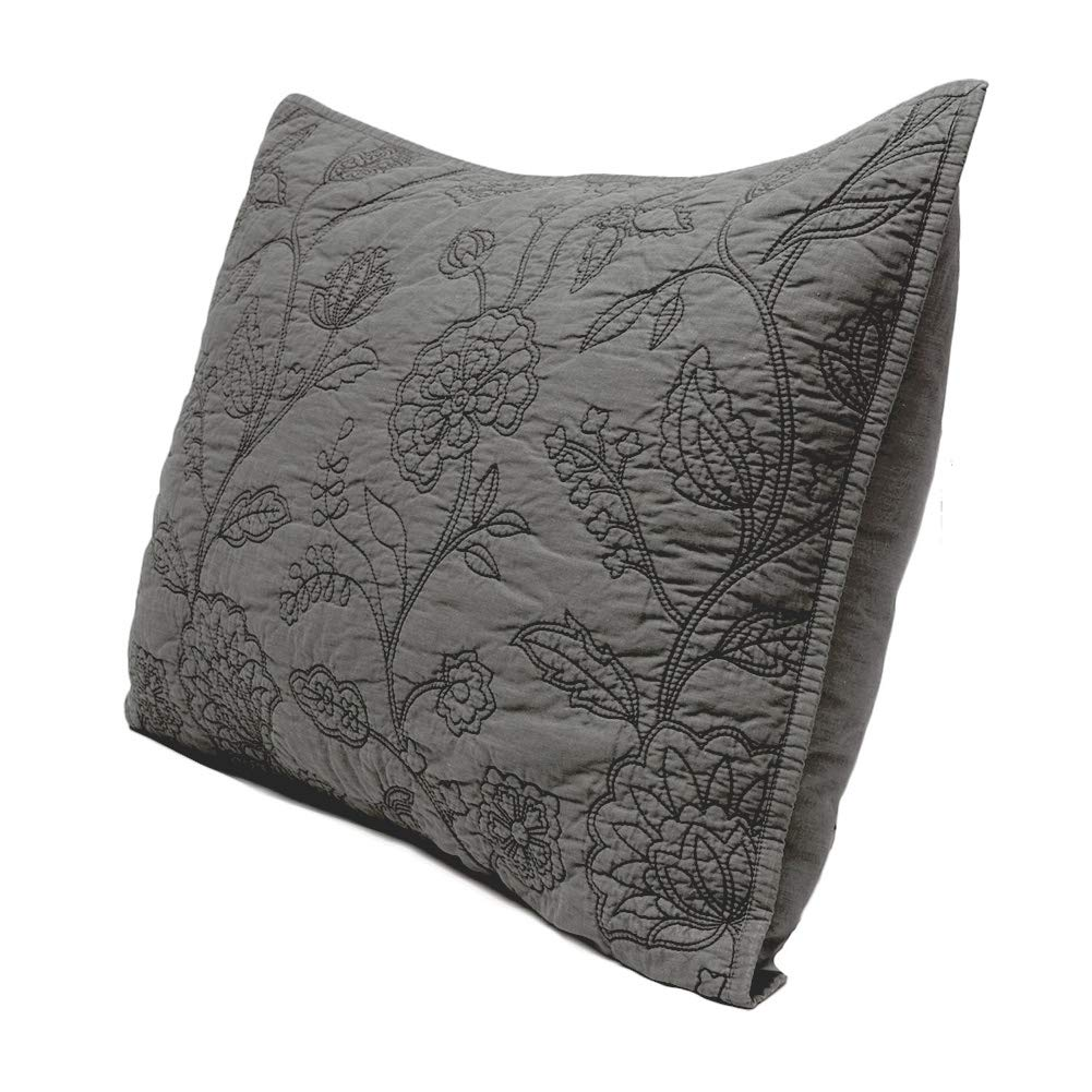 Elegant Life 100% Cotton Night Blossom Floral Pattern Embroidery Pillow Shams, Standard Size Pillow cover, 20''x26''+0.5'' flange, Grey