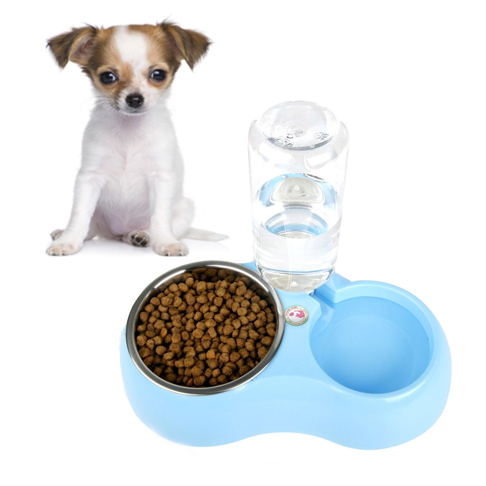 Mikayoo Pet Dog Puppy Cat Automatic Water Dispenser Food Dish Bowl Feeder Stainless Steel Double Dog Bowl Feeder Bottle (Blue S)
