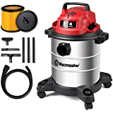 Vacmaster Red Edition VOC508S 1101 Stainless Steel Wet Dry Shop Vacuum 5 Gallon 4 Peak HP 1-1/4 inch Hose Powerful Suction wi