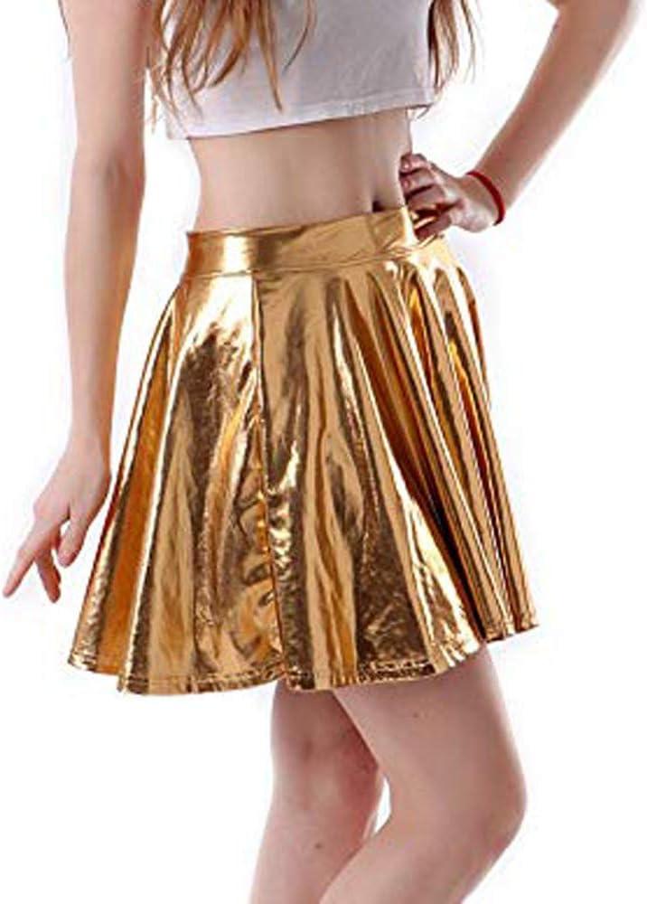 JERFER Moda para Mujer Cuero Acampanado Plisado A-Line Circle ...