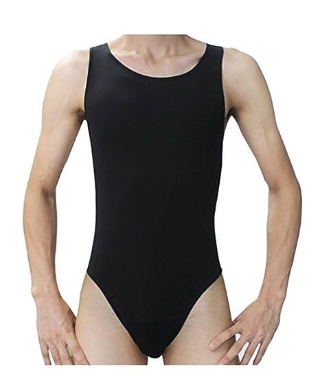 a19d212000 Freebily Men Stretch Thongs Lingerie Leotard Bodysuit Bodywear Swimsuit  Underwear Black One Size