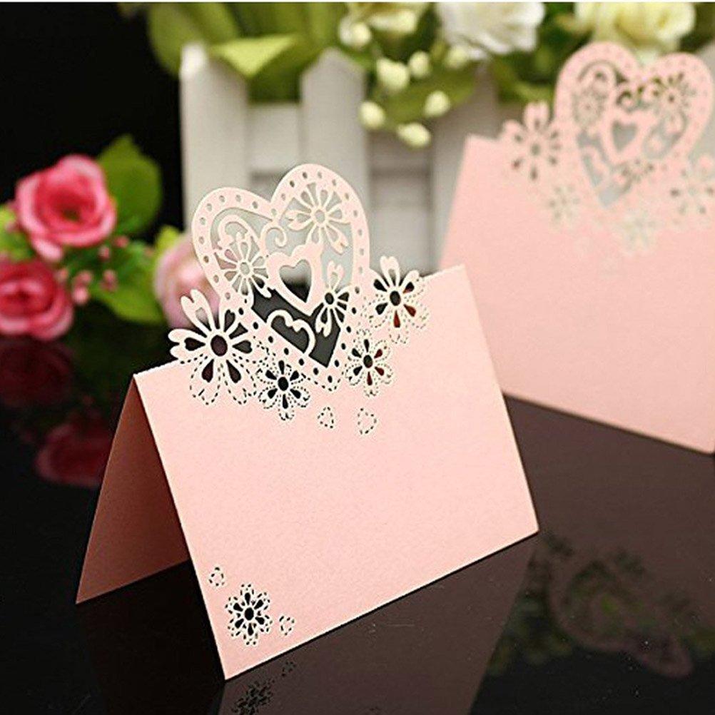 confezione da 50 OULII Nome tabella di luogo carte carte etichette nome per feste di matrimoni o feste amore cuore Design rosa