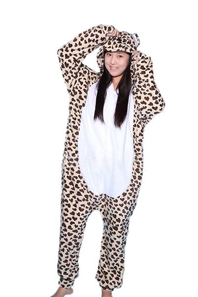 wotogold Animal Traje de Cosplay Leopardo Oso Onesies Hombre Mujer Unisex Piyama Adultos Pijamas Leopardo
