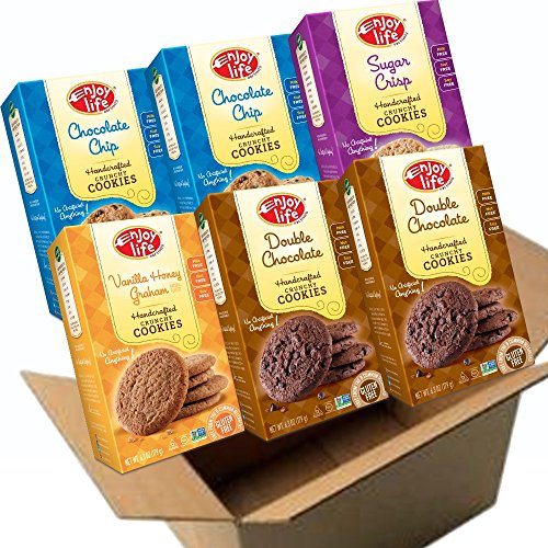 Enjoy Life Crunchy Cookies, Gluten-Free, Dairy-Free, Nut-Free and Soy-Free, Variety Pack, Chocolate Chip/Double Chocolate/Sugar Crisp/Vanilla Honey Graham , 6.3 Ounce (Pack of 6) (Soy Dairy Free)