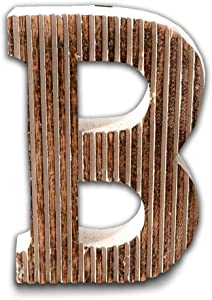 Kaizen Casa Natural Wooden Letter B Sign Hanging Decor Letter Beautiful Indian Art